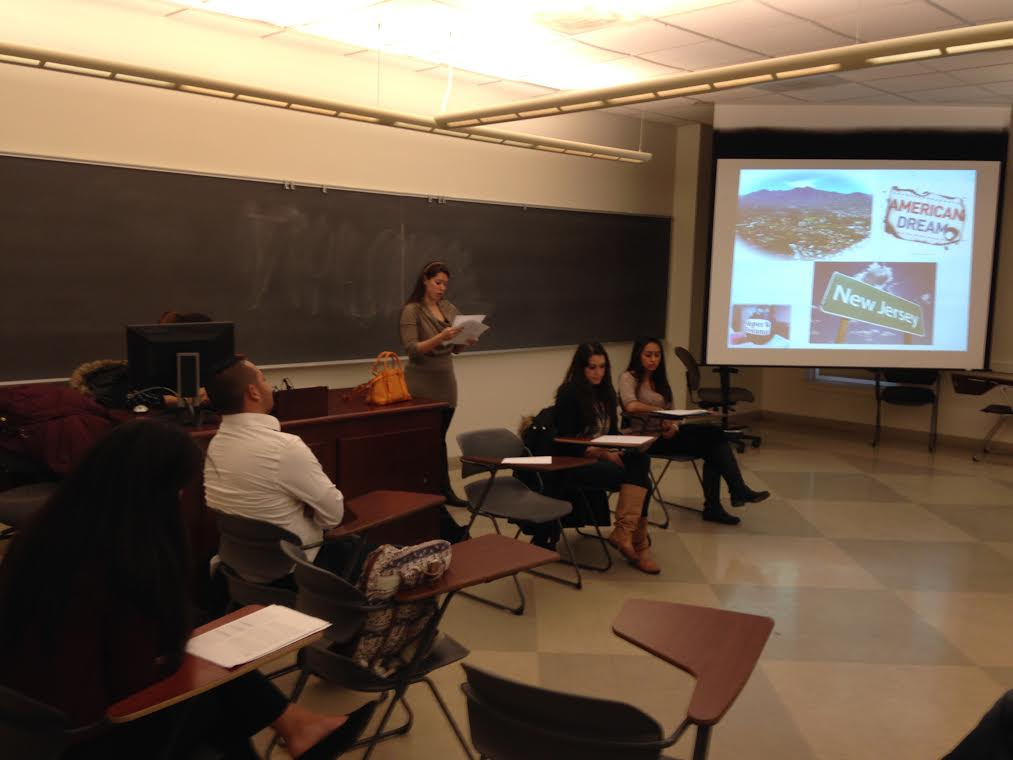 """Students from Dr. Isabel Kentengian's SPA 210 class present their research on """"Oral Histories: Immigration Stories of Hispanics."""""""